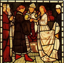 07 Sposalizio di re Marco e Isotta, vetrata di C. Burne-Jones, XIX secolo